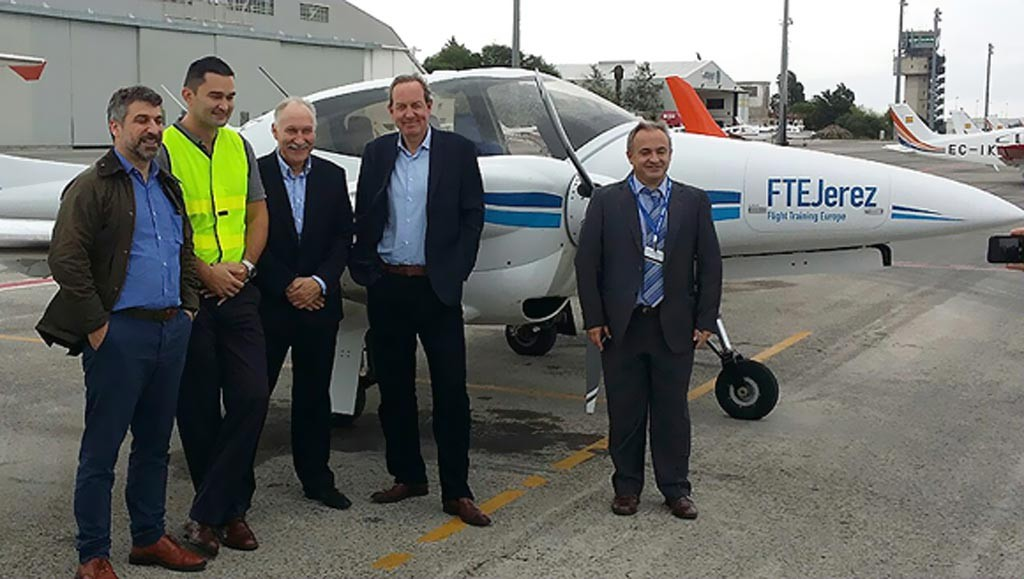From left to right, Capt. Filippos Siakas, 1st Officer Timur Masharev, Senior Vice President Operations Tony Regan, Mr. Peter Foster Air Astana President, and Oscar Sordo FTEJerez CEO.